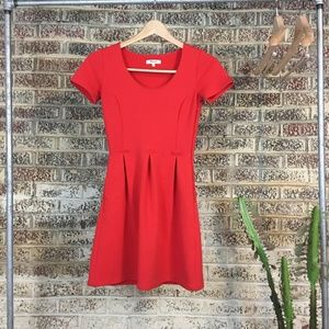 MADEWELL Red Bistro Fit & Flare Short Sleeve Dress